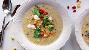 corn soup with potatoes and squash
